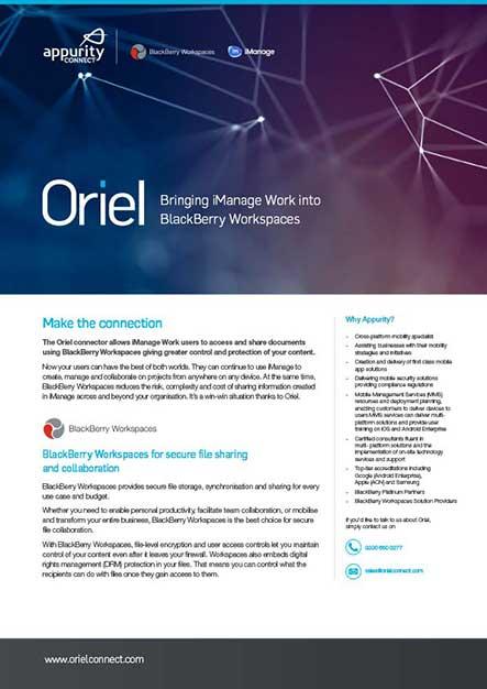 Oriel data sheet